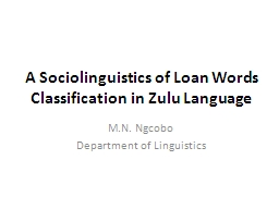 A Sociolinguistics of Loan