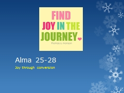 Alma 25-28 Joy through conversion