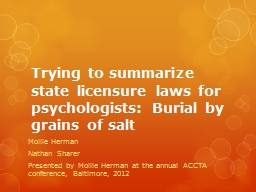 Trying to summarize state licensure laws for psychologists: Burial by grains of salt