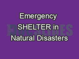 Emergency SHELTER in Natural Disasters