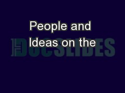 People and Ideas on the
