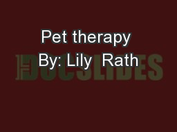 Pet therapy By: Lily  Rath