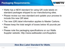 Packaging  Requirements: