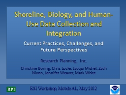 Shoreline, Biology, and Human-Use Data Collection and