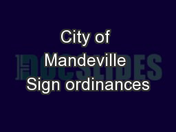 City of Mandeville Sign ordinances