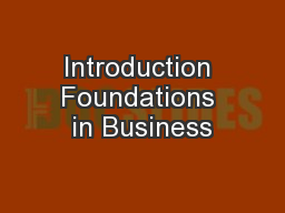 Introduction Foundations in Business