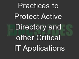 Best Practices to Protect Active Directory and other Critical IT Applications