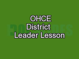OHCE District Leader Lesson
