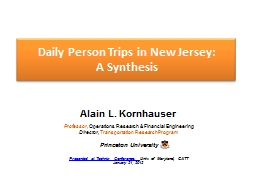 Daily Person Trips in New Jersey: