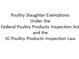 Poultry Slaughter Exemptions