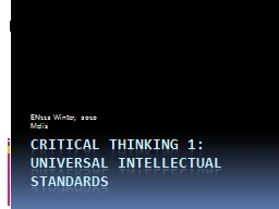 Critical Thinking 1: Universal intellectual standards