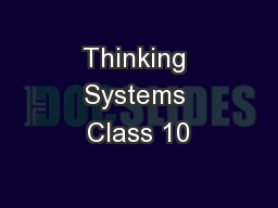 Thinking Systems Class 10