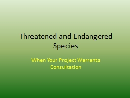 Threatened and Endangered Species