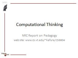 Computational Thinking NRC Report on Pedagogy