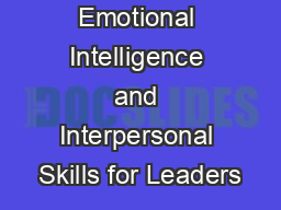 Emotional Intelligence and Interpersonal Skills for Leaders