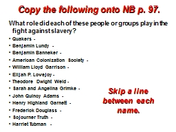 Copy the following onto NB p.