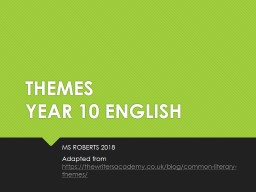 THEMES YEAR 10 ENGLISH MS ROBERTS 2018