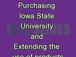 Local Purchasing Iowa State University and Extending the use of products