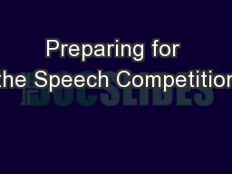Preparing for the Speech Competition
