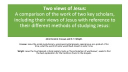 Two views of Jesus: A comparison of the work of two key scholars, including their views of Jesus wi