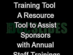 SFSP Training Tool  A Resource Tool to Assist Sponsors with Annual Staff Trainings