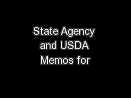 State Agency and USDA Memos for
