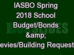 IASBO Spring 2018 School Budget/Bonds & Levies/Building Requests