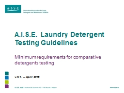 A.I.S.E. Laundry Detergent Testing Guidelines