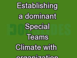 Hornet Special Forces Establishing a dominant Special Teams Climate with  organization and planning