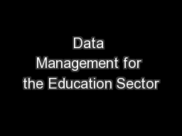 Data Management for the Education Sector