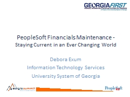 PeopleSoft Financials Maintenance -
