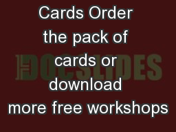 Foresight  Cards Order the pack of cards or download more free workshops