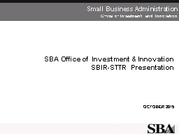SBA Office of Investment & Innovation