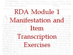 RDA Module  1 Manifestation and Item