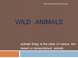 Wild  Animals Animals living in the state of nature. Not tamed or domesticated animals. PowerPoint PPT Presentation