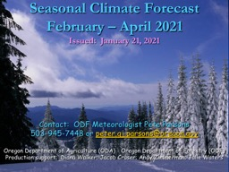 Seasonal Climate Forecast