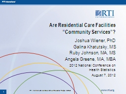 Are Residential Care Facilities PowerPoint PPT Presentation
