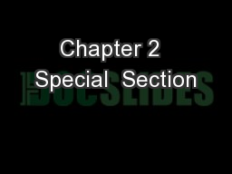 Chapter 2  Special  Section