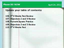April  24 ,  2011 Update your table of contents