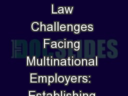 Top Workplace Law Challenges Facing Multinational Employers:  Establishing New Global Operations