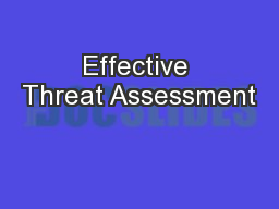 Effective Threat Assessment