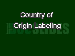 Country of Origin Labeling