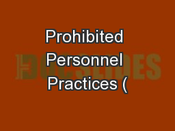 Prohibited Personnel Practices (