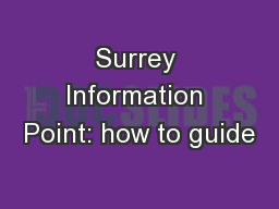 Surrey Information Point: how to guide
