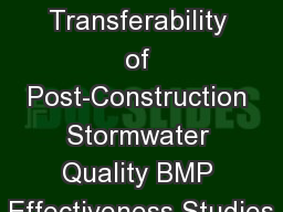Transferability of Post-Construction Stormwater Quality BMP Effectiveness Studies