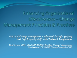 Enhancing Organizational Effectiveness – Change Management Principles & Practices