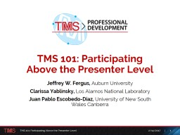 TMS 101: Participating  Above the Presenter