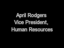 April Rodgers Vice President, Human Resources