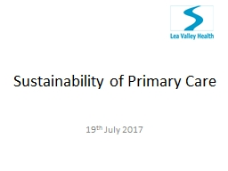Sustainability of Primary Care