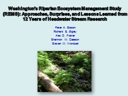 Washington's Riparian Ecosystem Management Study (REMS): Approaches, Surprises, and Lessons Learn